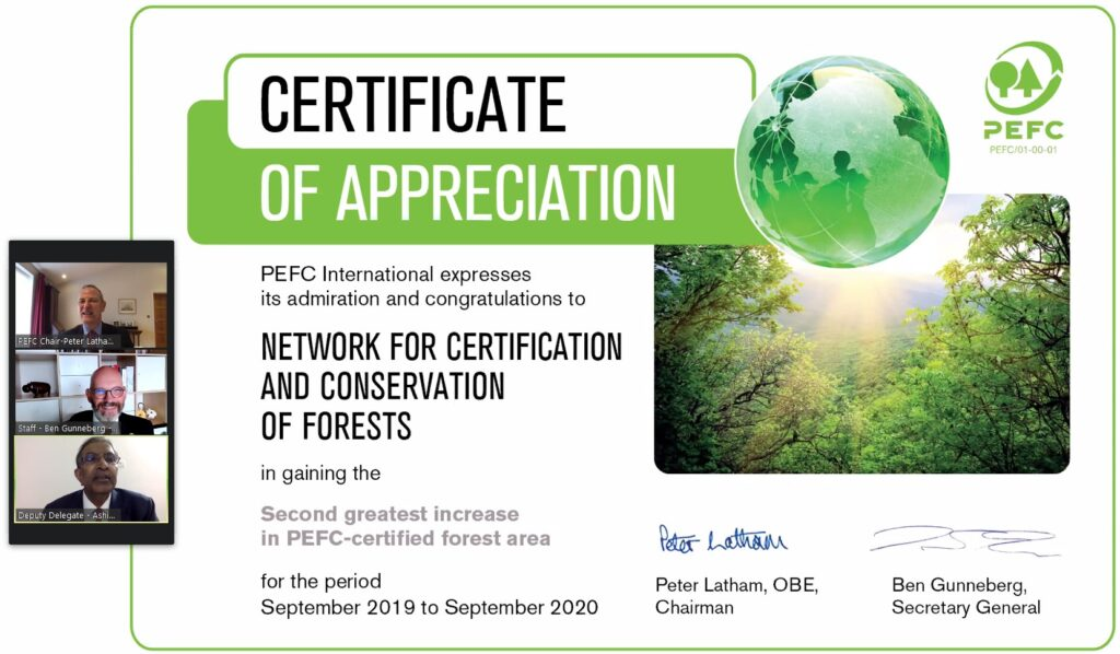 NCCF RECEIVES PEFC CERTIFICATE OF APPRECIATION FOR second greatest increase in pefc certified FOREST Area